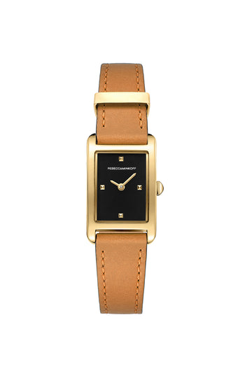 Moment Gold Tone Almond Leather Strap Watch 19MM X 30MM