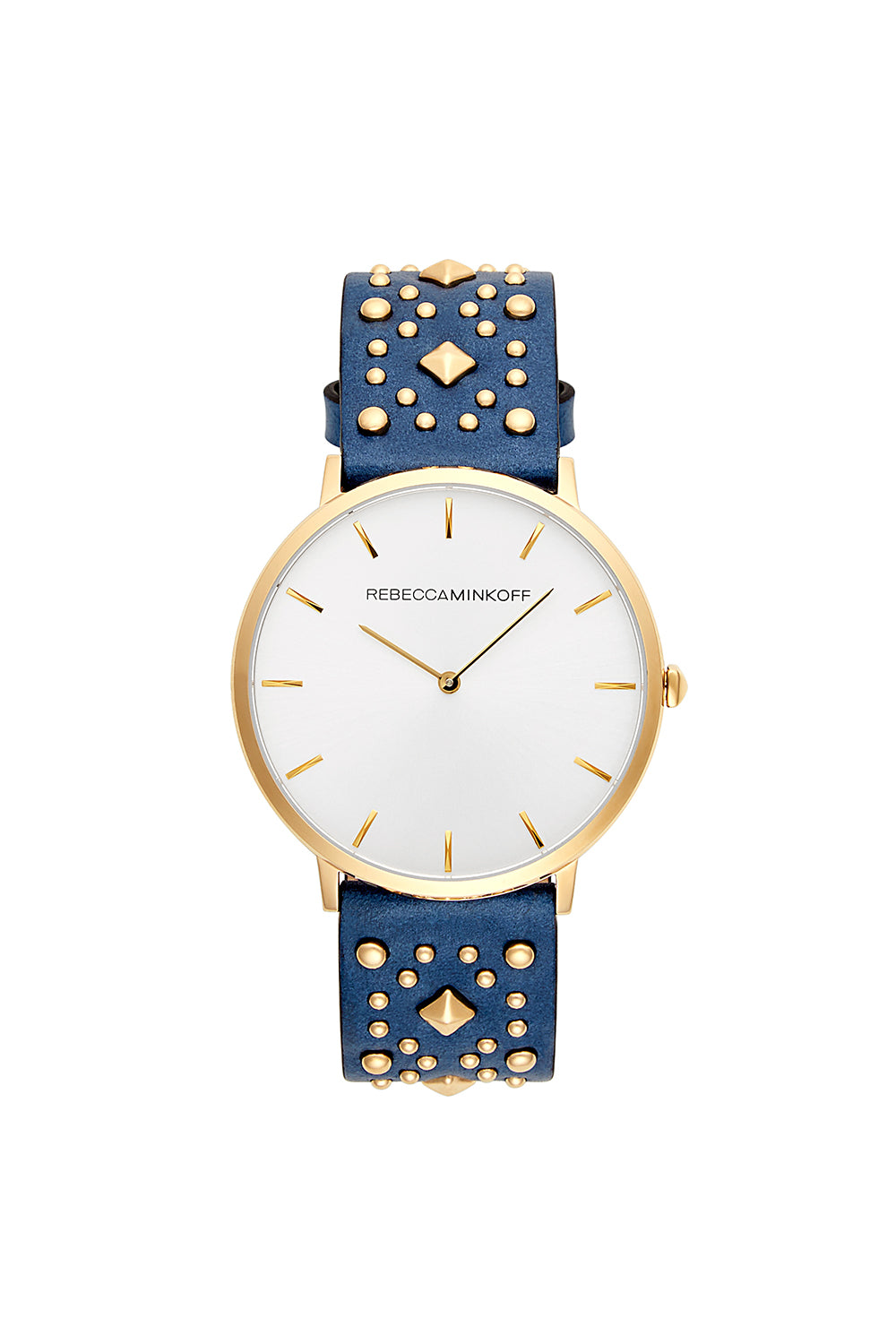 Rebecca-Minkoff Major Gold Tone Blue Studded Strap Watch, 40MM