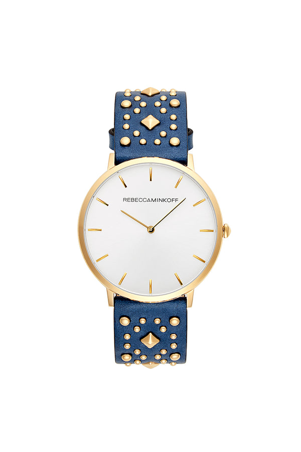 Major Gold Tone Blue Studded Strap Watch, 40 Mm by Rebecca Minkoff