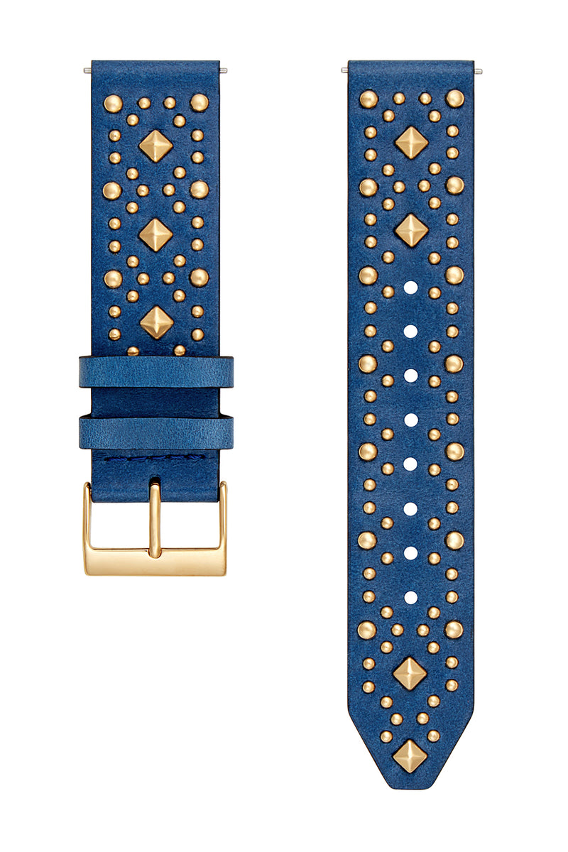 Major Interchangeable Blue Studded Leather Strap