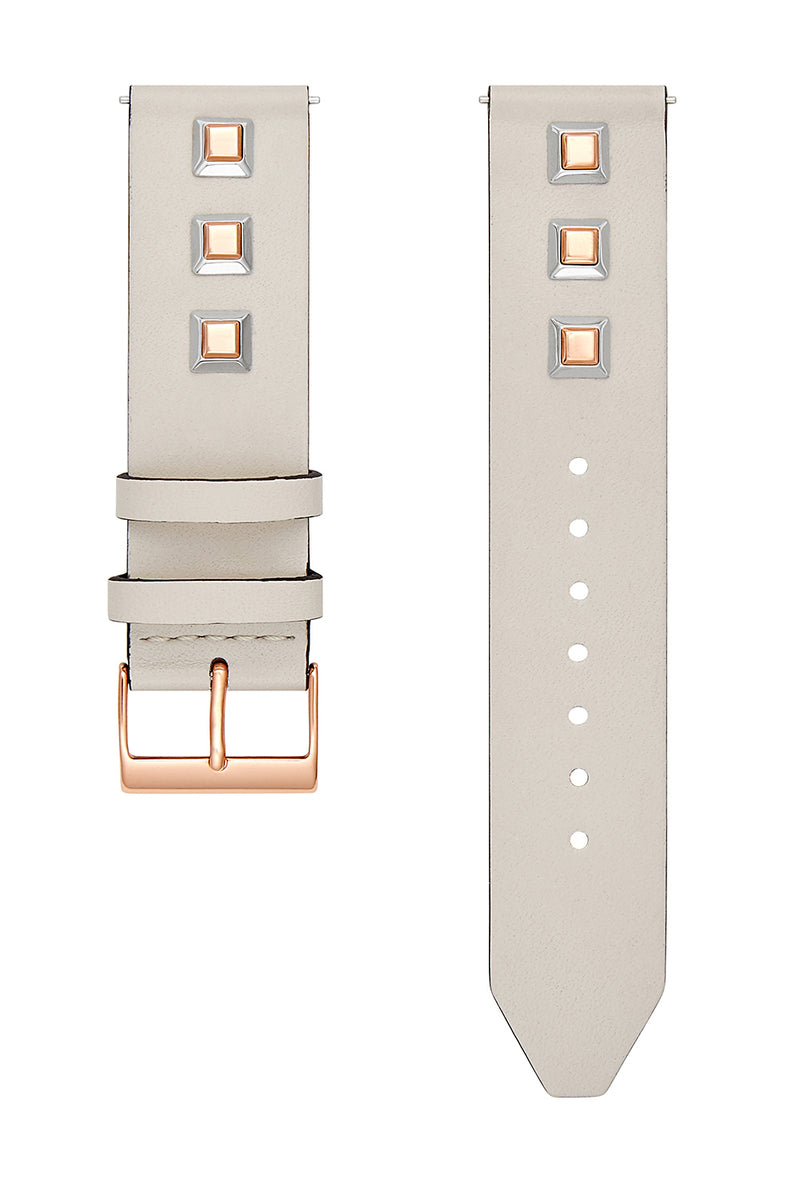 Major Interchangeable Grey Studded Leather Strap