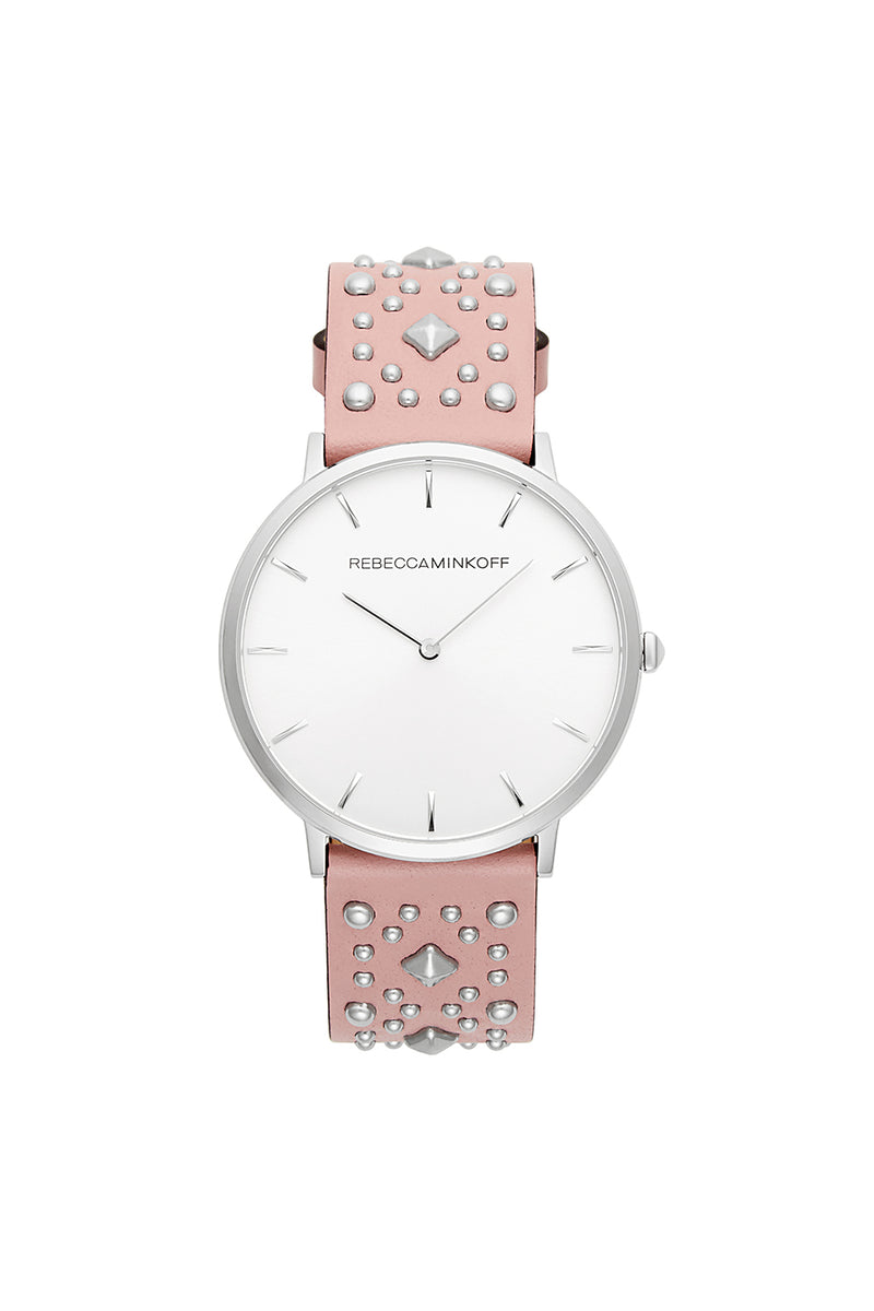 Major Silver Tone Pink Studded Strap Watch, 40MM