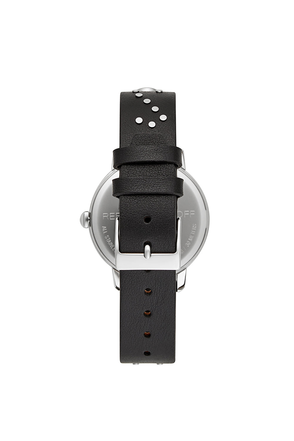BFFL Silver Tone Black Studded Strap Watch, 36MM