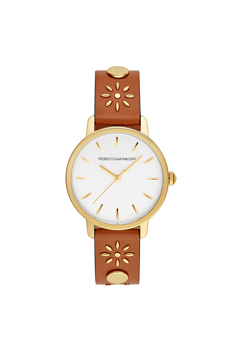 BFFL Gold Tone Almond Studded Strap Watch, 36MM