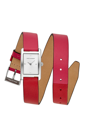 Moment Silver Tone Pink And Red Leather Watch, 19x30MM
