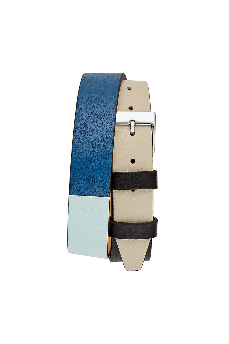 Moment Silver Tone Black And Mint Leather Watch, 19x30MM