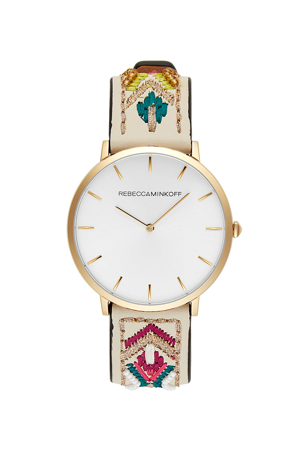 Rebecca-Minkoff Major Gold Tone Pop Color Strap Watch, 40MM