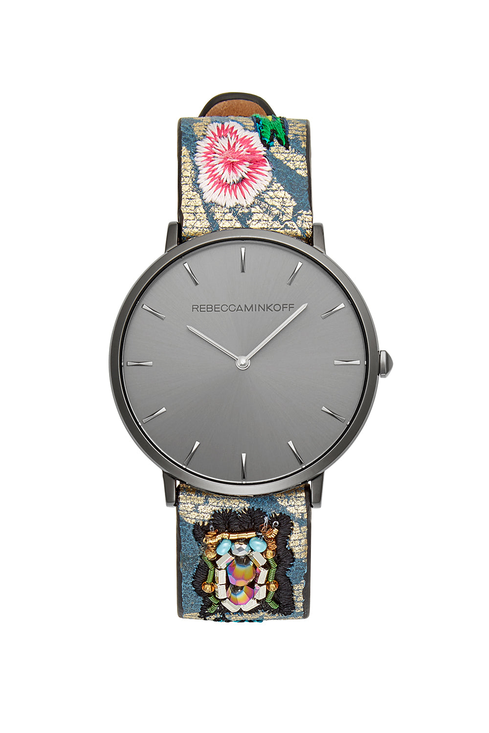 Rebecca-Minkoff Major Grey Ion Plated Tone Floral Strap Watch, 40MM