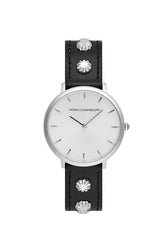 Major Silver Tone Black Studded Strap Watch, 35MM