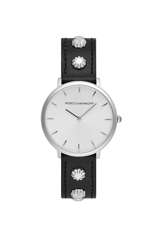 2200180 major  35mm  ss case with black flower studded strap and silver white sunray dial a large