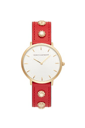 Major Gold Tone Red Studded Strap Watch, 35MM