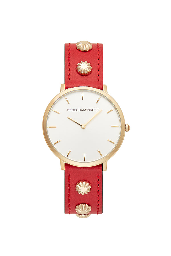 Major Gold Tone Red Studded Strap Watch, 35 Mm by Rebecca Minkoff