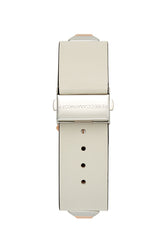 Jett Silver Tone Ecru Strap Watch, 22x22 MM