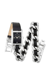 Moment Silver Tone Double Wrap Watch, 19x30mm