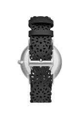 Major Silver Tone Black Strap Watch, 40MM