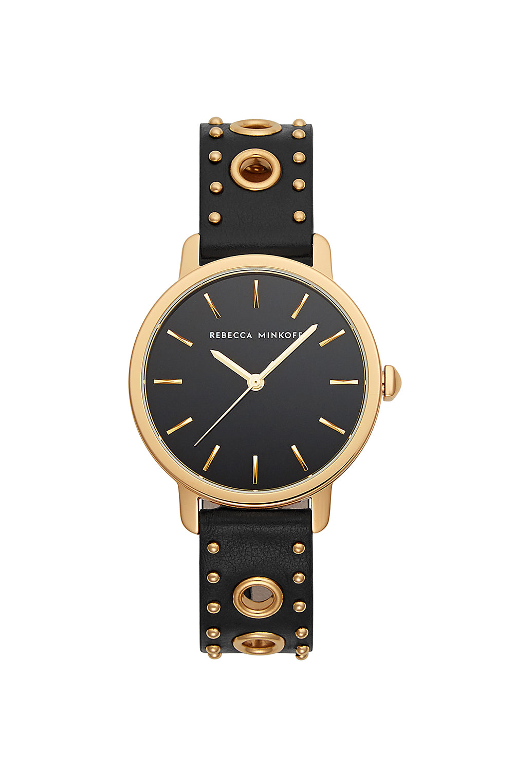 Rebecca-Minkoff BFFL Gold Tone Black Leather Strap Watch, 36MM