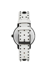 BFFL Black Ion Plated Tone White Leather Strap Watch, 36MM