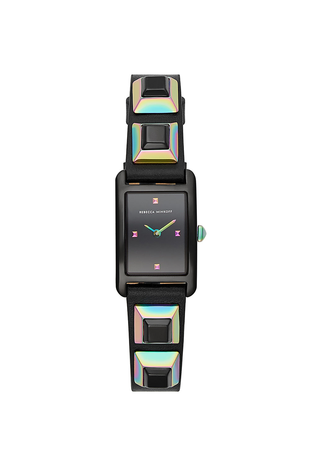 Rebecca-Minkoff Moment Black Tone Black Leather Strap Watch, 19x30MM
