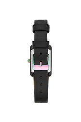 Moment Black Tone Black Leather Strap Watch, 19x30MM