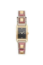 Moment Gold Tone Putty Leather Strap Watch, 19x30MM
