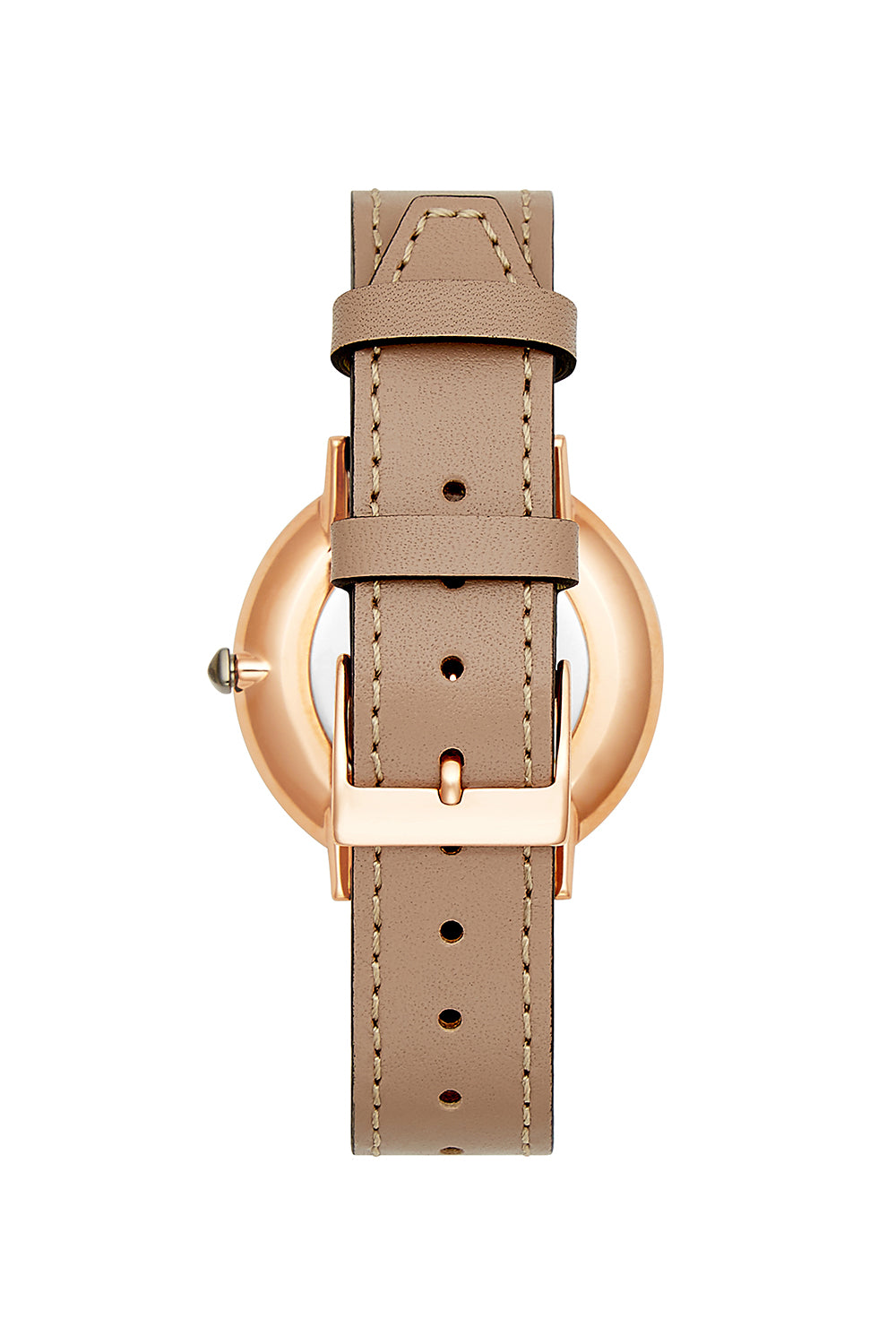 Major Rose Gold Tone Grey Leather Strap Watch, 35mm