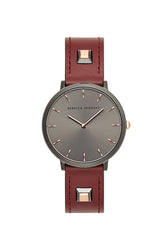Major Grey Tone Burgundy Leather Strap Watch, 35mm