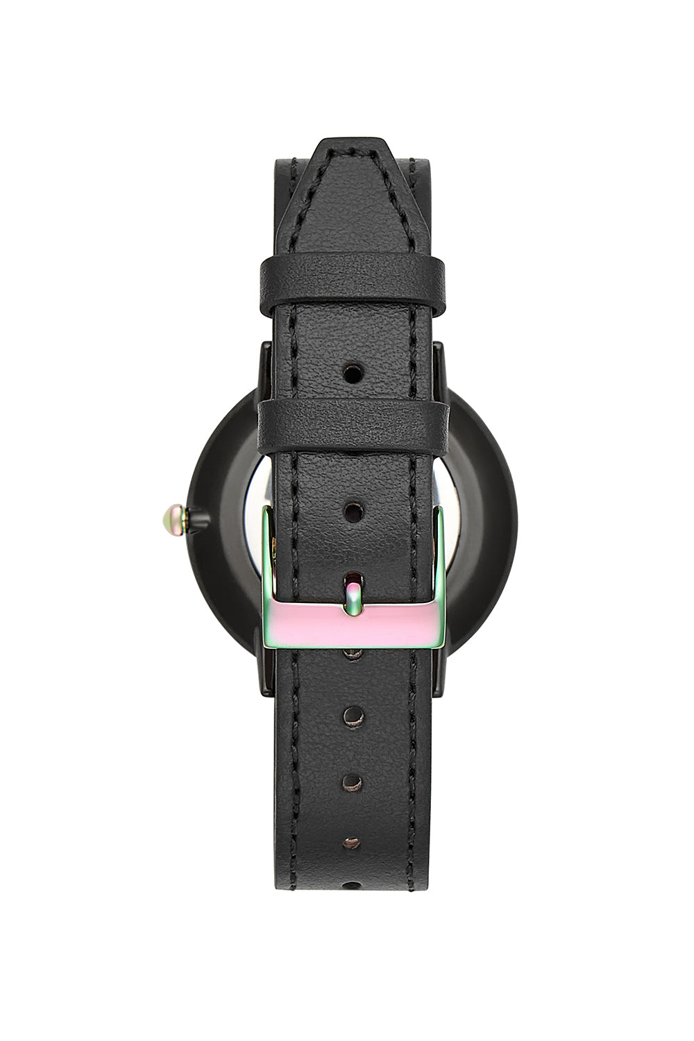 Major Black Tone Black Leather Strap Watch, 35mm