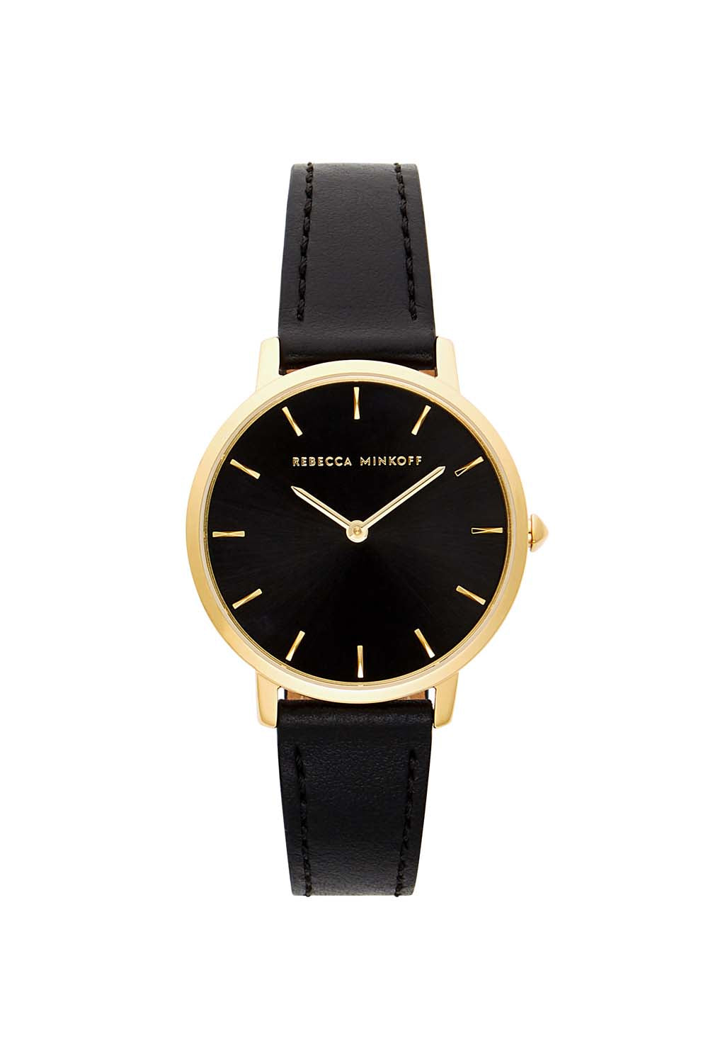 Major Gold Tone Black Strap Watch, 35m