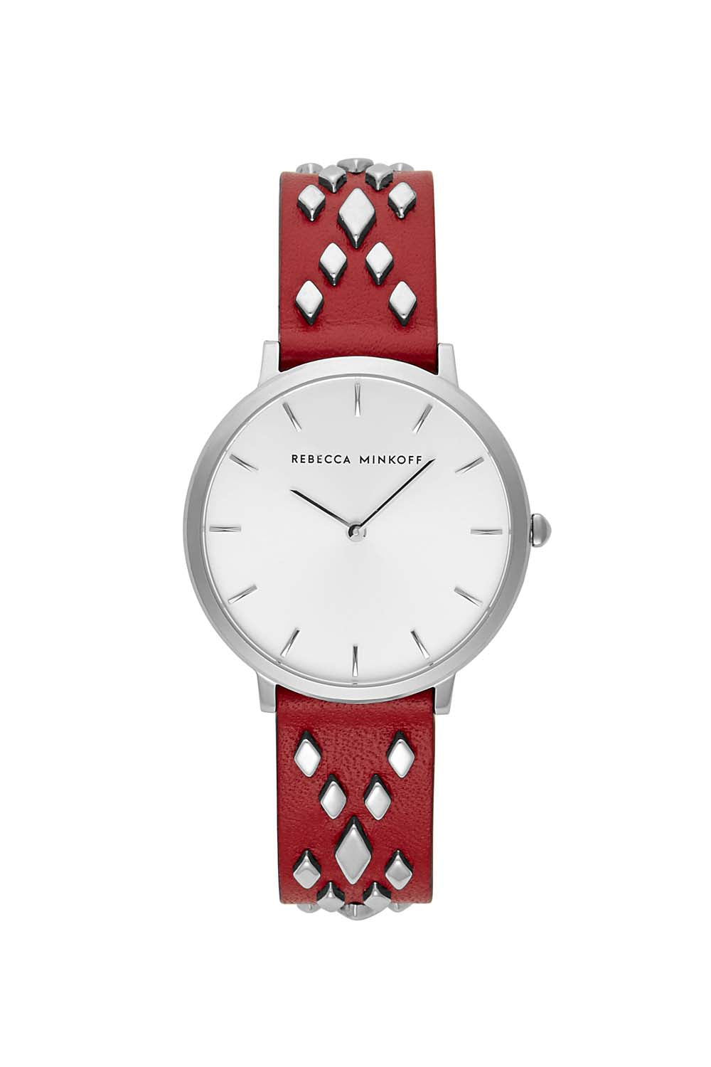 Major Silver Tone Scarlet Strap Watch, 35mm