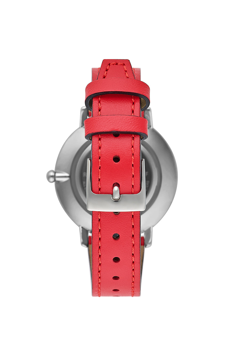 Major Silver Tone Red Strap Watch, 35mm