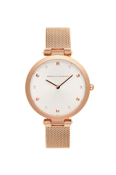 Nina Rose Gold Tone Mesh Watch, 33mm