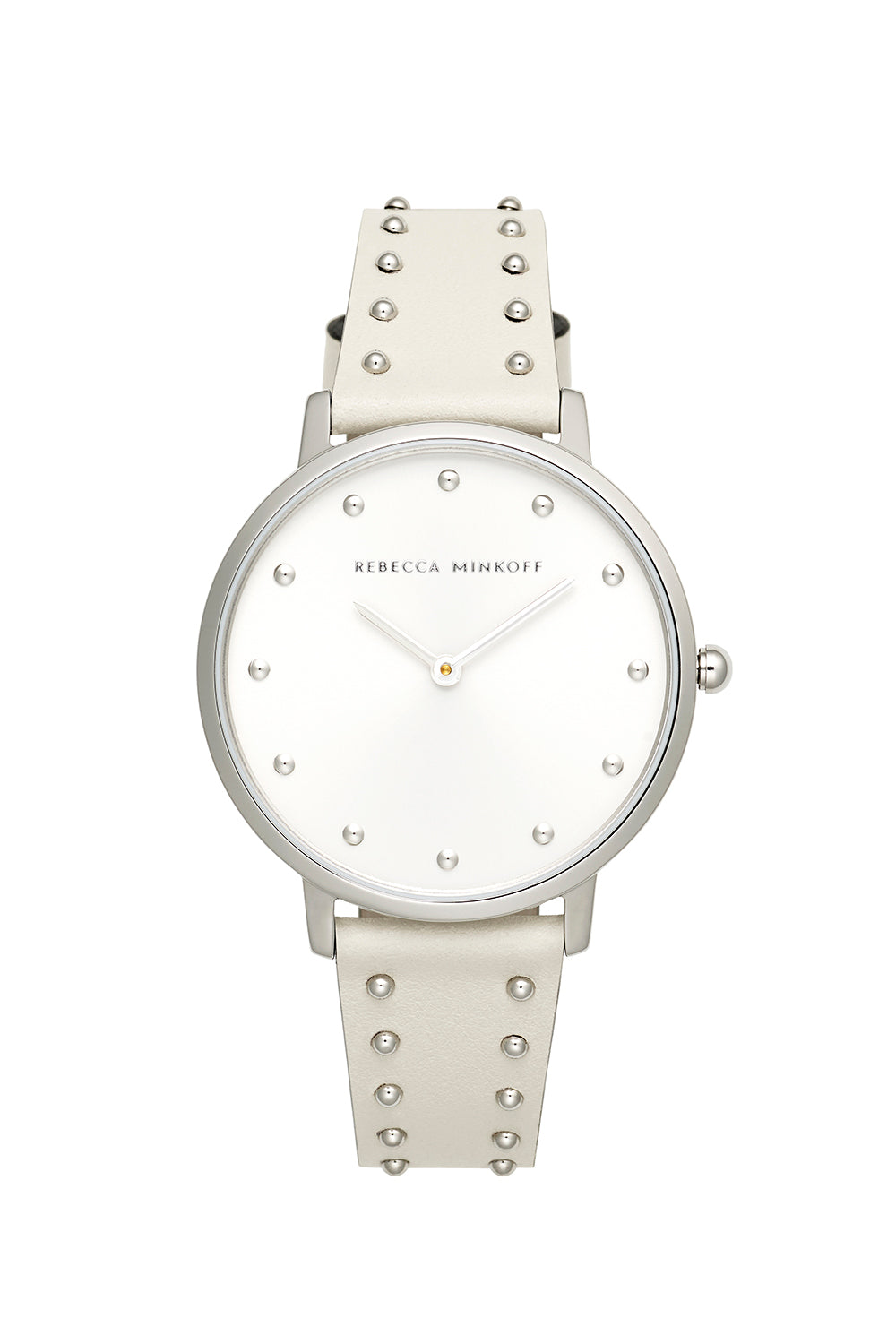Major Silver Tone White Stud Strap Watch, 35mm