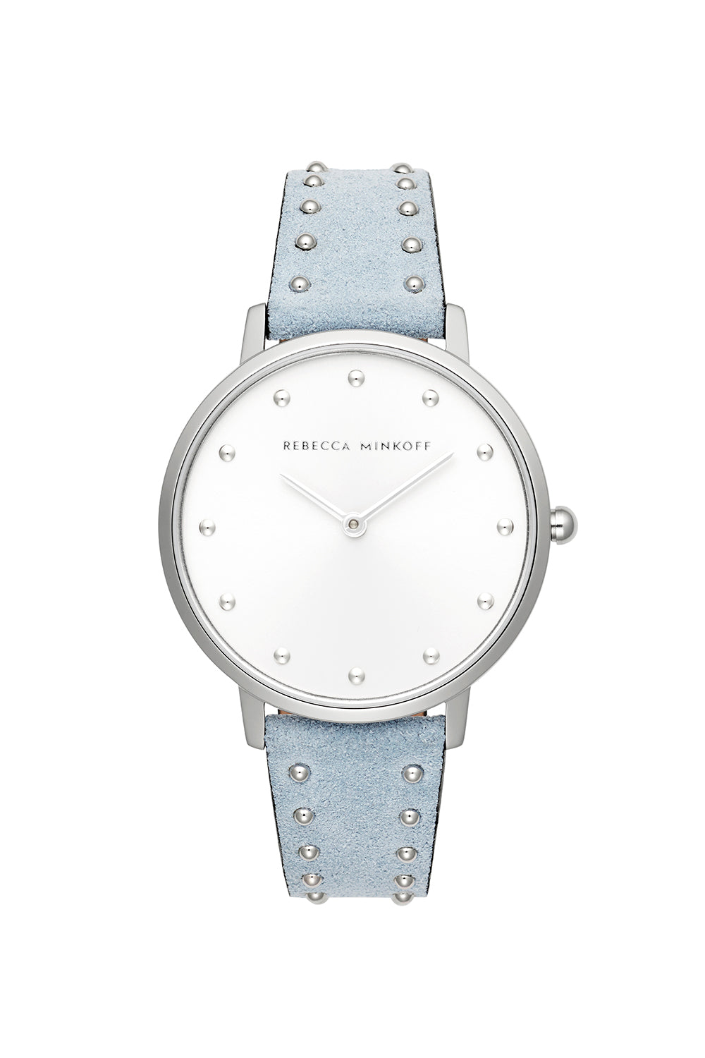 Major Silver Tone Blue Stud Strap Watch, 35mm