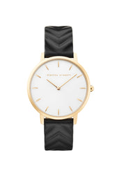 Major Gold Tone Black Strap Watch, 35mm