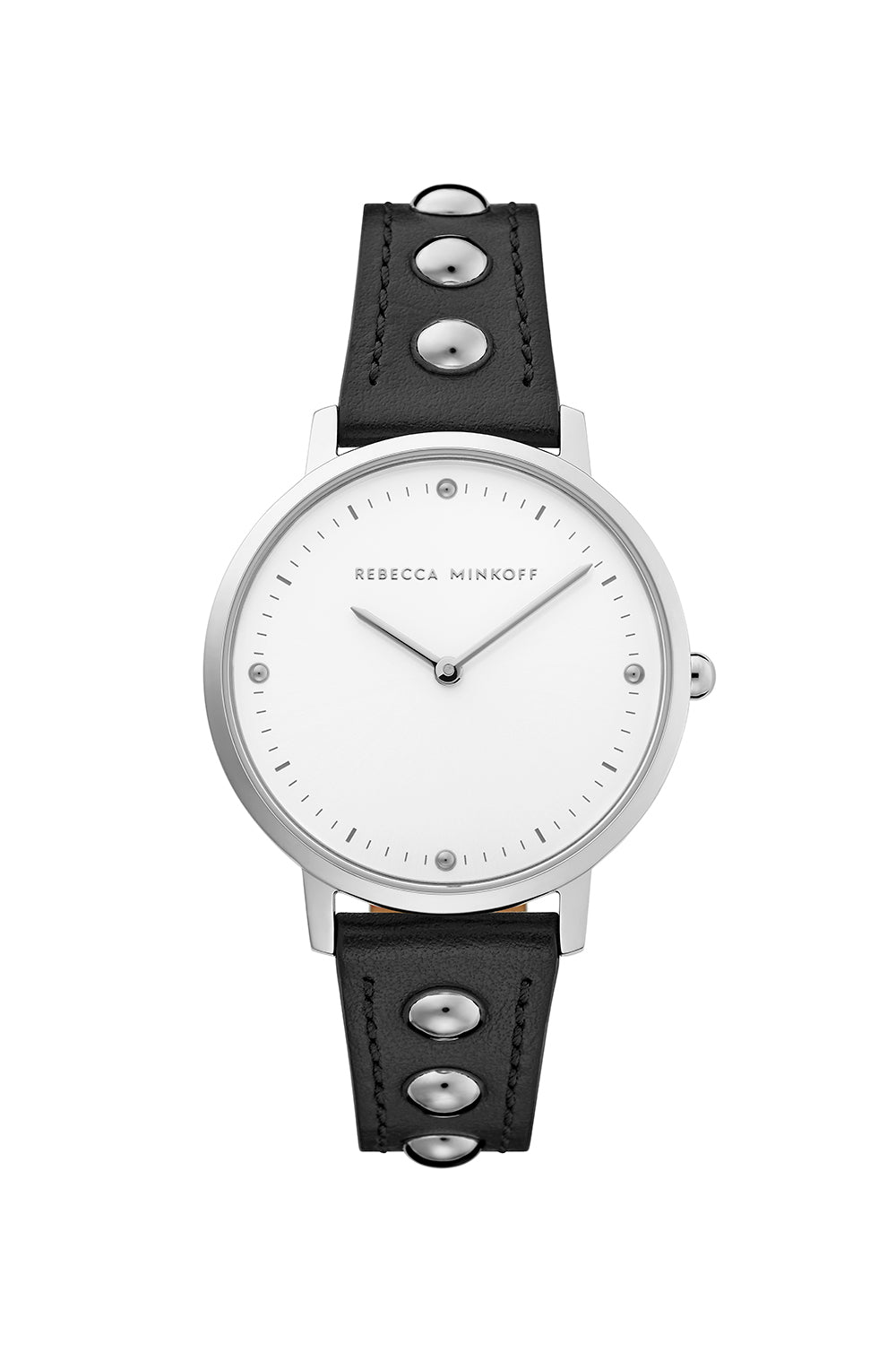 Major Silver Tone Black Strap Watch, 35mm