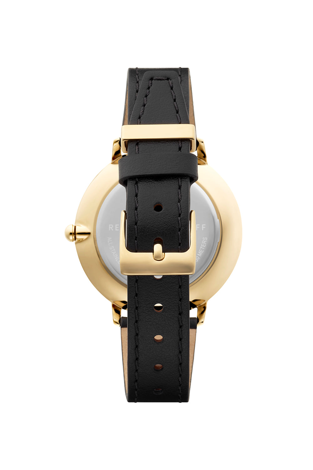 Major Gold Tone Black Strap Watch 38mm