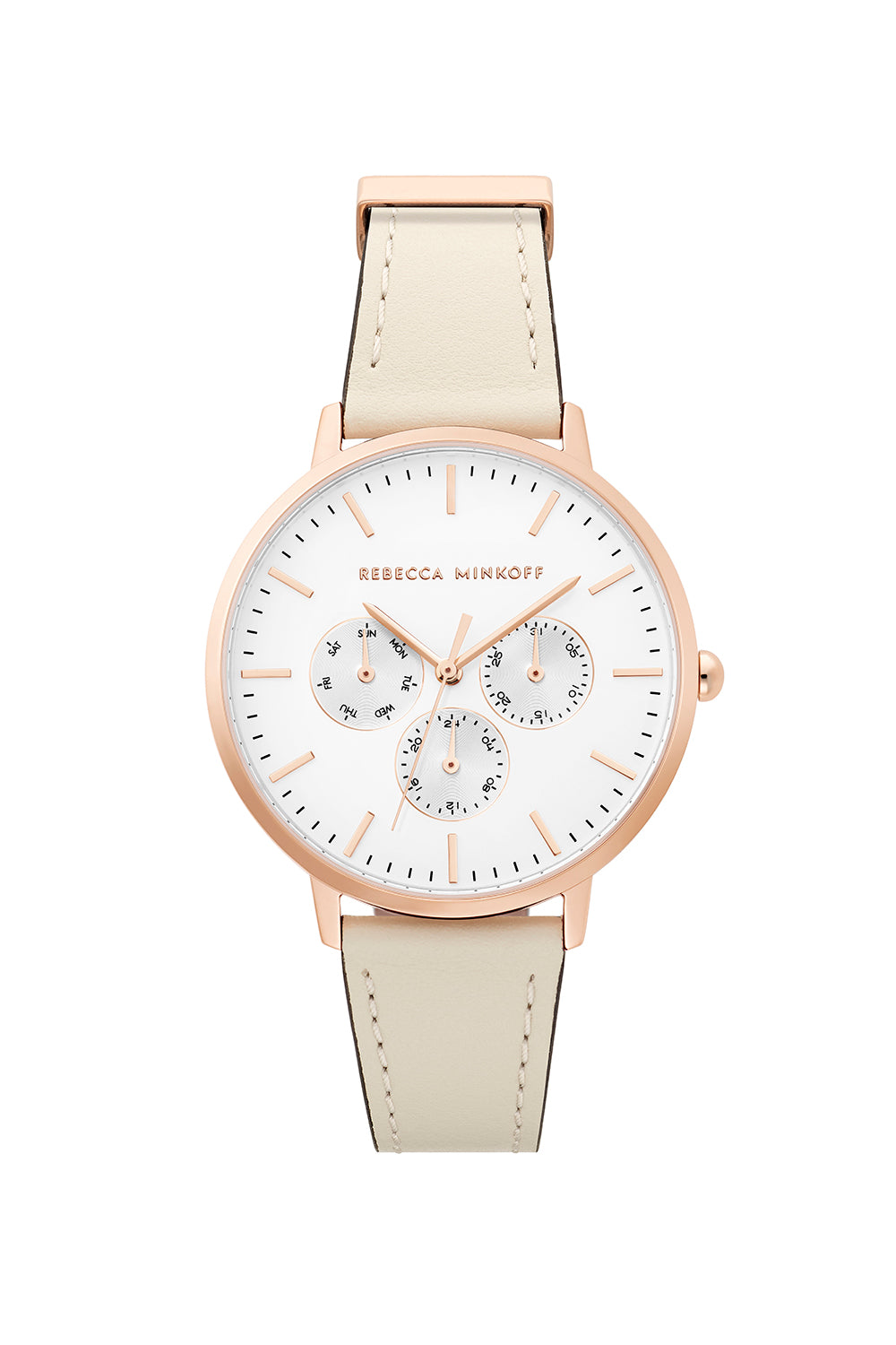 Major Rose Gold Tone White Strap Watch, 38mm