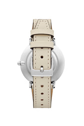 Major Silver Tone White Strap Watch, 35mm - Hover Image
