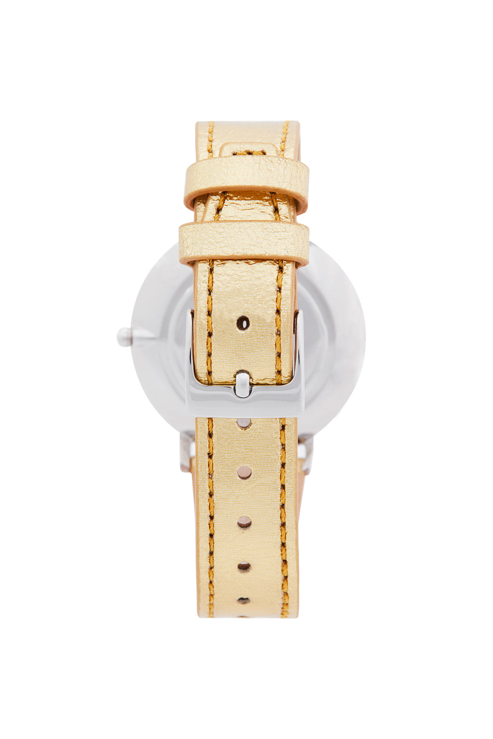 Major Silver Tone Gold Leather Strap Watch, 35mm
