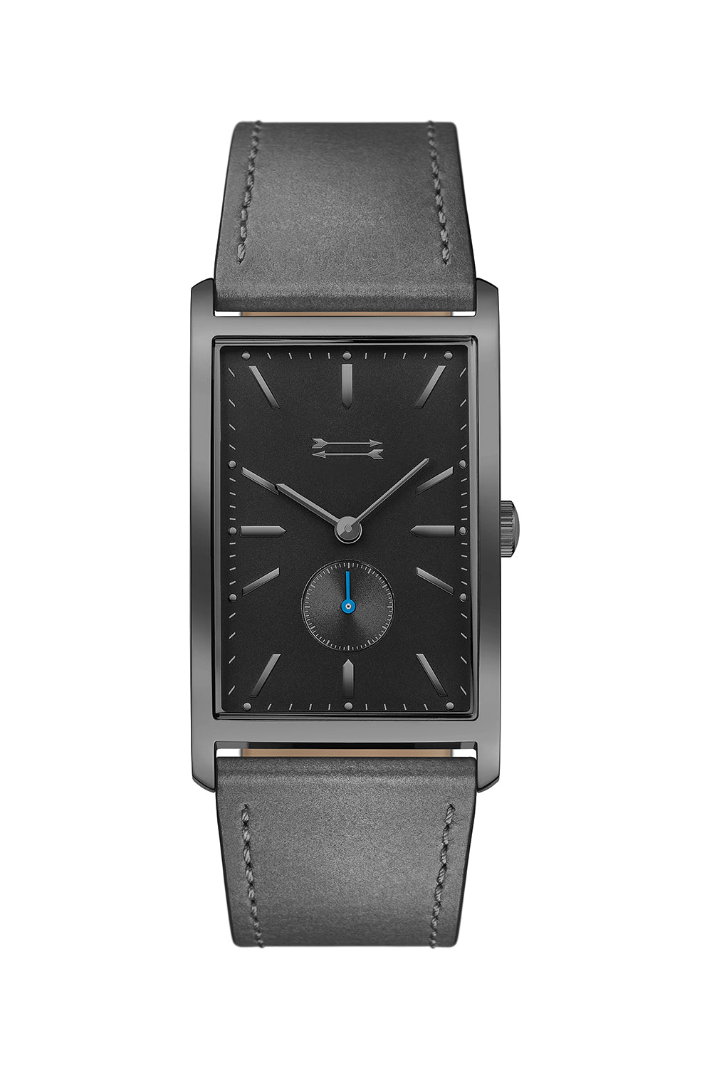 Pesaro Gunmetal Tone Leather Watch, 27MM X 45.5MM