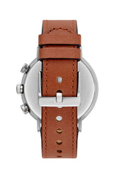 Griffith Silver Tone Leather Watch, 43MM