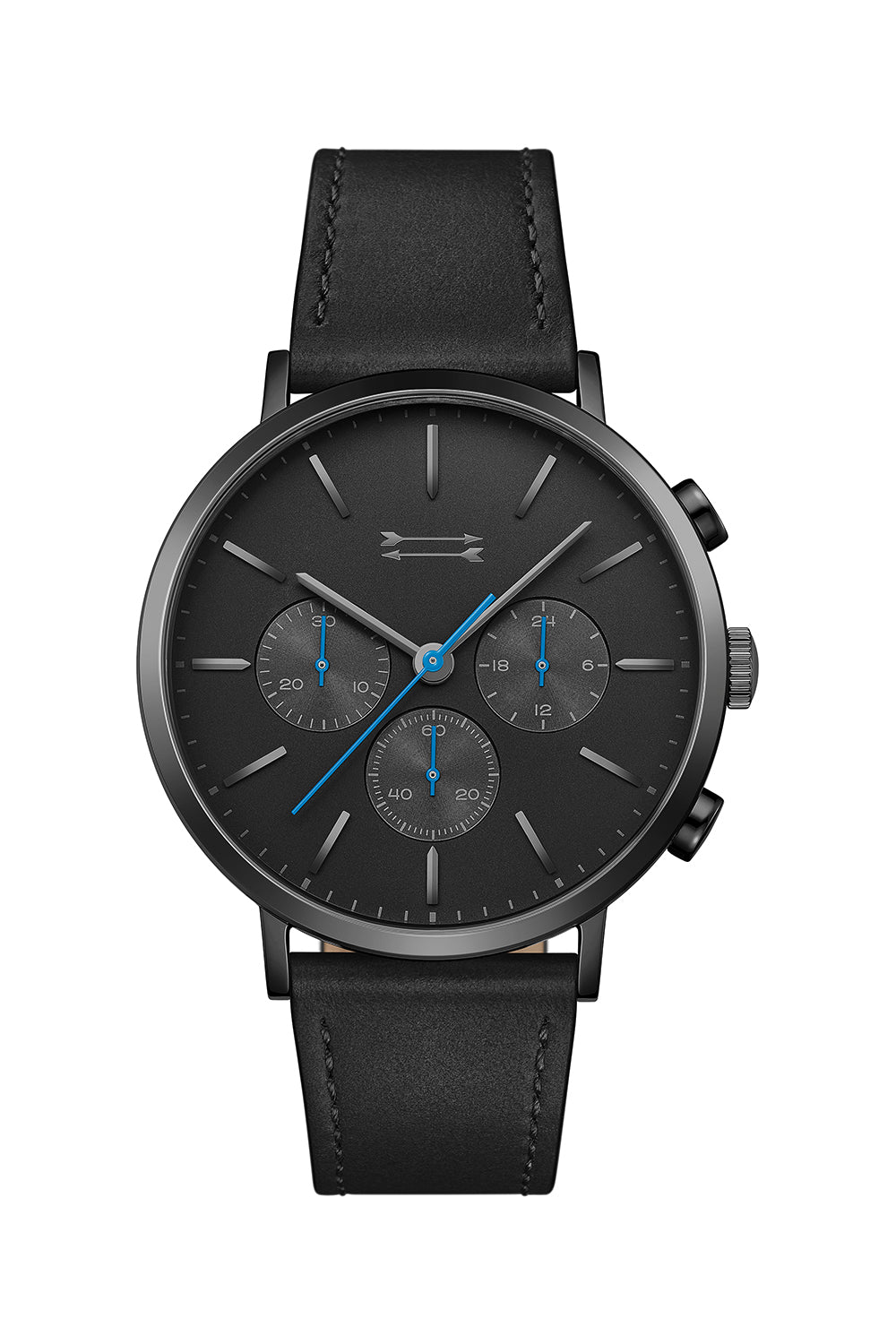 Uri-Minkoff Griffith Black Tone Leather Watch, 43MM