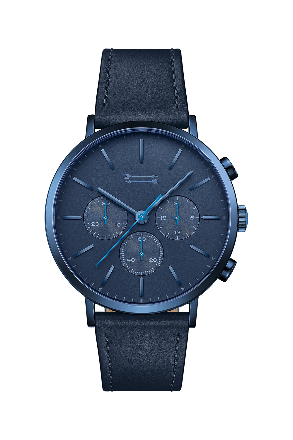 Uri-Minkoff Griffith Blue Tone Leather Watch, 43MM