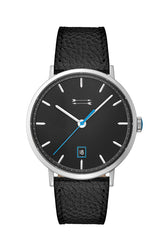 Norrebro Silver Tone Black Leather Strap Watch, 40MM