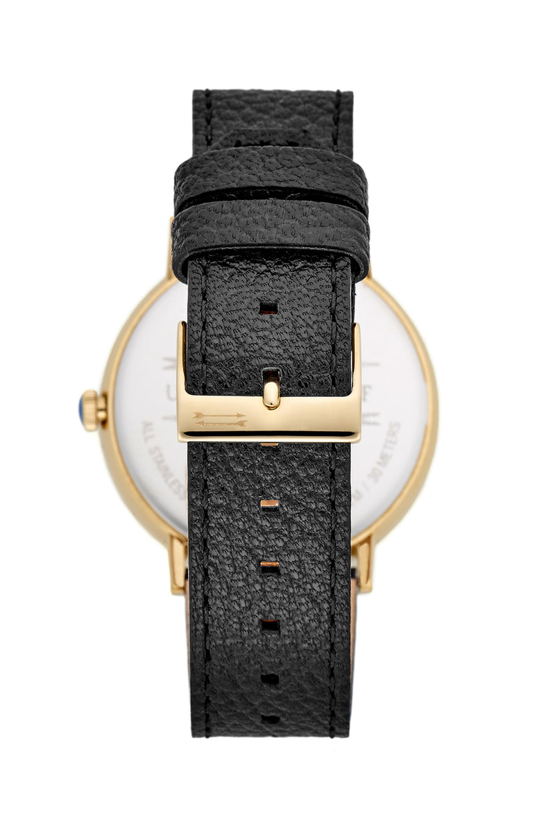 Norrebro Gold Tone Black Leather Strap Watch, 40MM