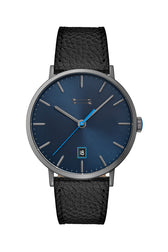 Norrebro Grey Tone Black Leather Strap Watch, 40MM