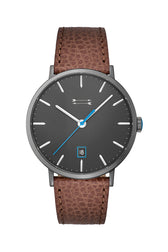Norrebro Grey Tone Brown Leather Strap Watch, 40MM