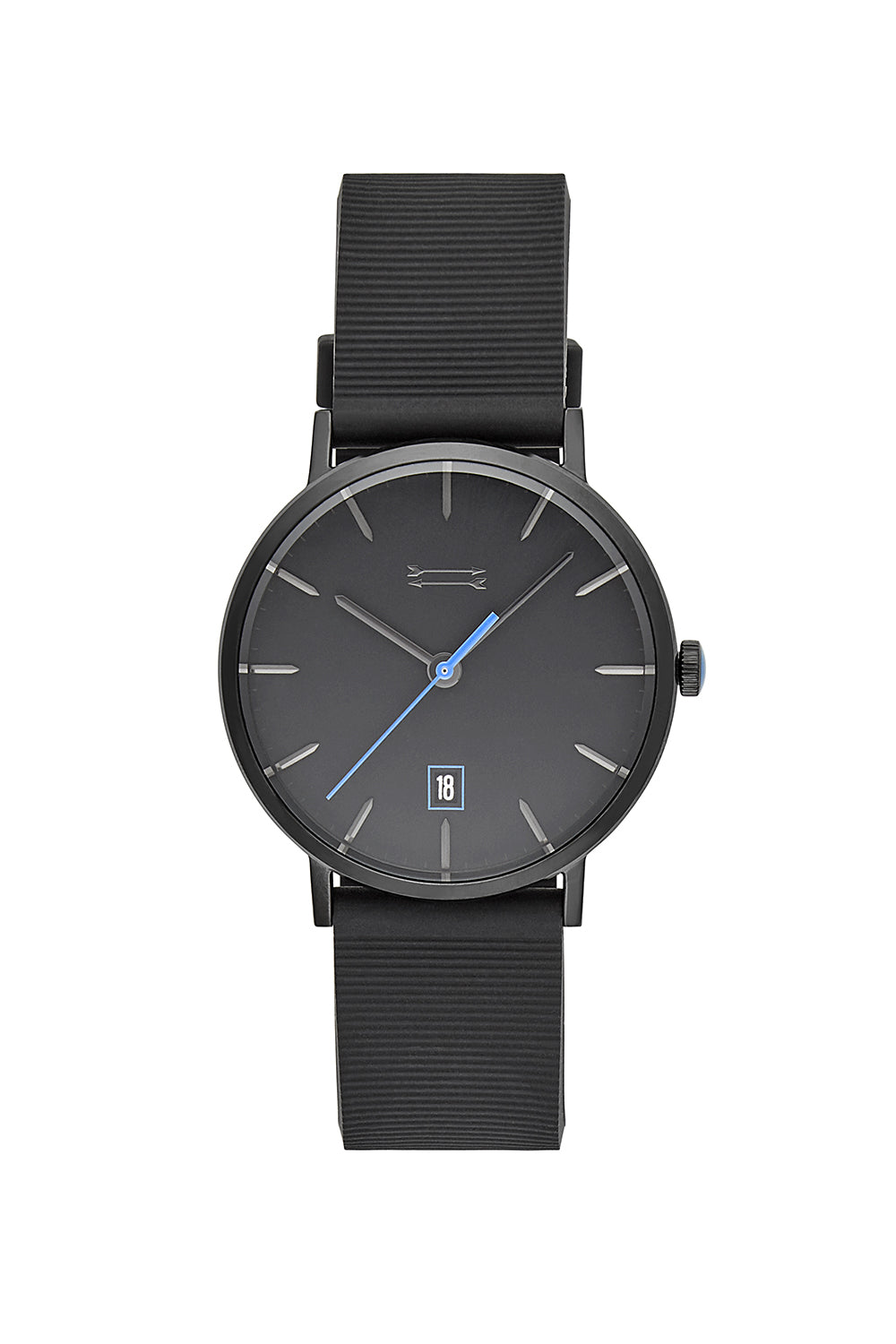 Norrebro Black Tone Rubberized Strap Watch, 40MM