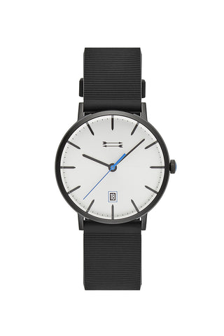 2210035 norrebro  40mm  black ip case with black rubberized grosgrain strap and silver white sunray dial a large
