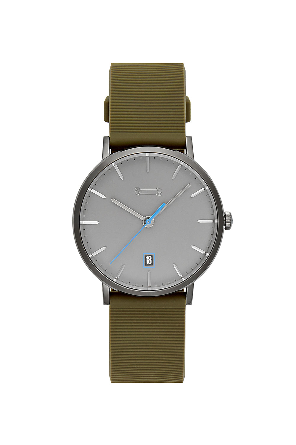 Norrebro Grey Tone Rubberized Strap Watch, 40MM